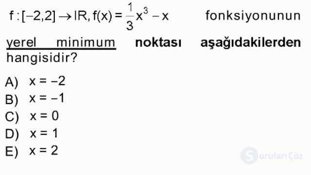 Genel Matematik Tek Ders Sınavı 15. Soru