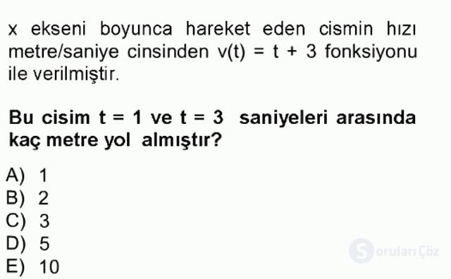 Genel Matematik Tek Ders Sınavı 18. Soru