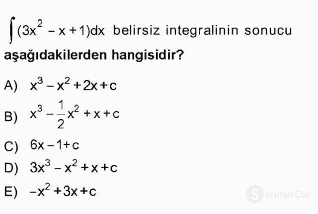 Genel Matematik Tek Ders Sınavı 20. Soru
