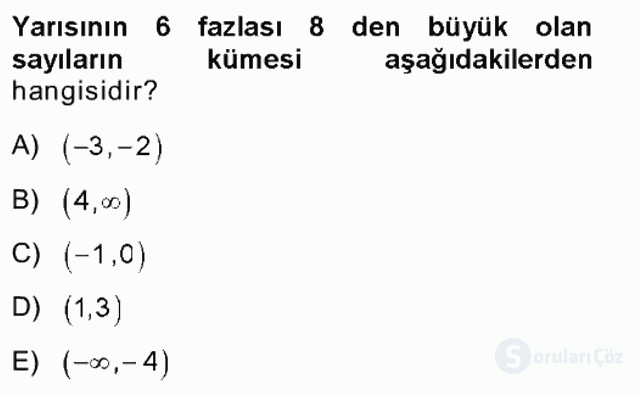 Genel Matematik Tek Ders Sınavı 3. Soru