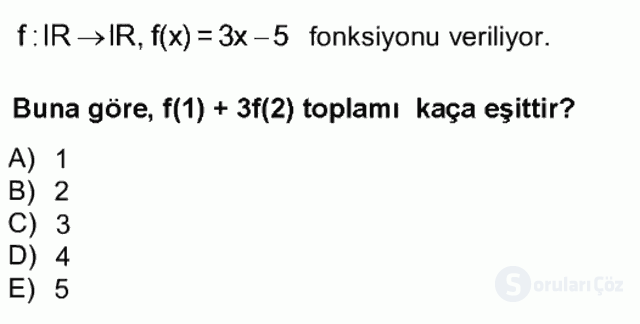 Genel Matematik Tek Ders Sınavı 5. Soru