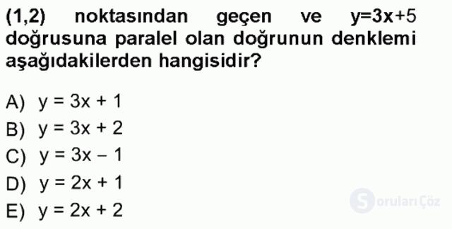 Genel Matematik Tek Ders Sınavı 6. Soru
