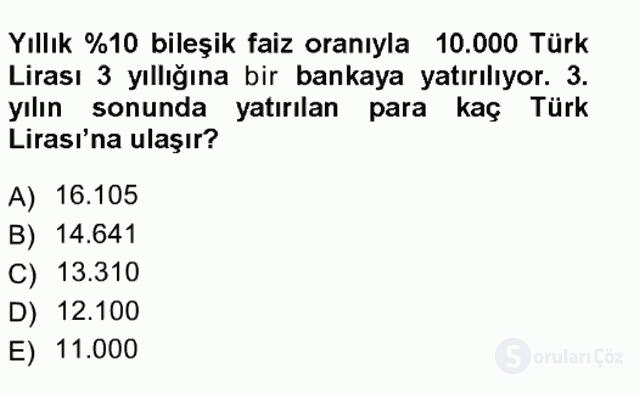 Genel Matematik Tek Ders Sınavı 8. Soru