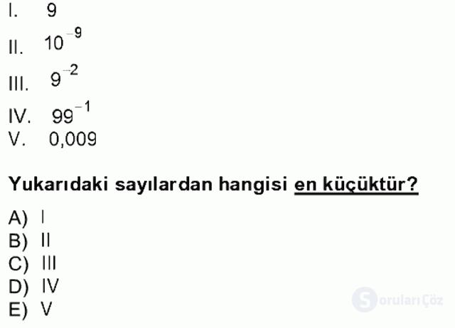 Matematik I Tek Ders Sınavı 1. Soru
