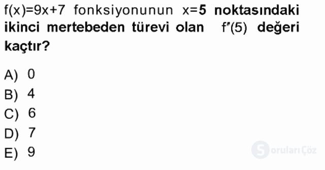 Matematik I Tek Ders Sınavı 12. Soru