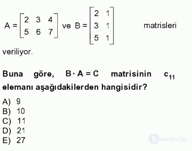 Matematik I Tek Ders Sınavı 14. Soru