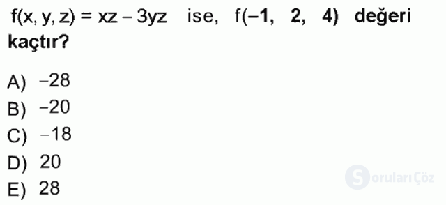 Matematik I Tek Ders Sınavı 16. Soru