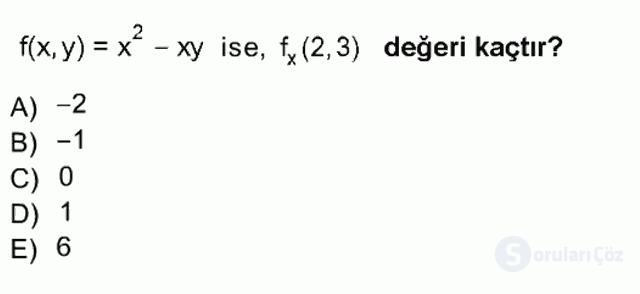Matematik I Tek Ders Sınavı 17. Soru