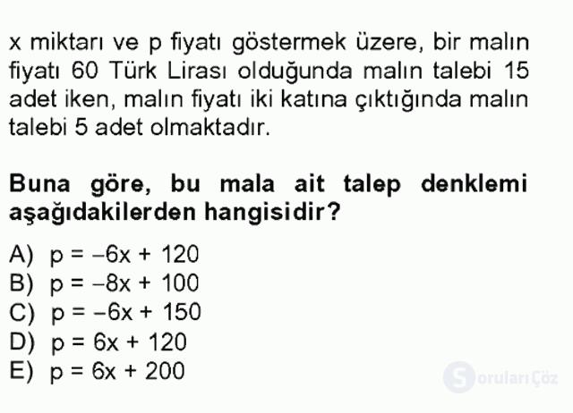 Matematik I Tek Ders Sınavı 18. Soru