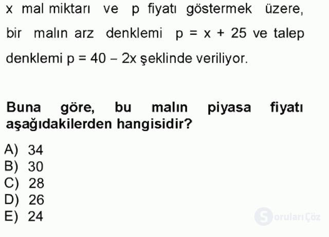 Matematik I Tek Ders Sınavı 19. Soru
