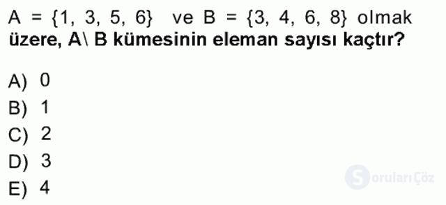 Matematik I Tek Ders Sınavı 2. Soru