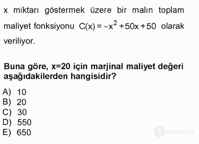 Matematik I Tek Ders Sınavı 20. Soru
