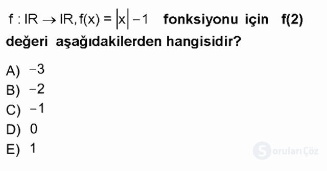Matematik I Tek Ders Sınavı 3. Soru