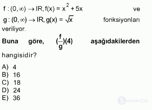 Matematik I Tek Ders Sınavı 4. Soru
