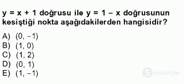 Matematik I Tek Ders Sınavı 5. Soru