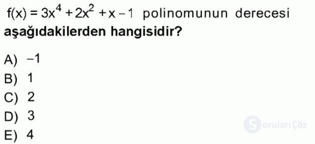 Matematik I Tek Ders Sınavı 6. Soru