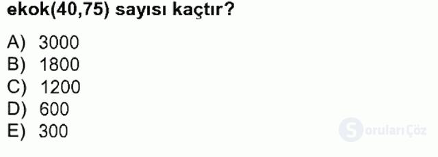 Matematik II Tek Ders Sınavı 13. Soru