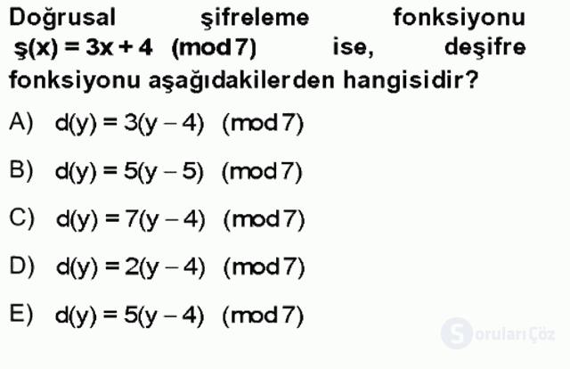 Matematik II Tek Ders Sınavı 17. Soru
