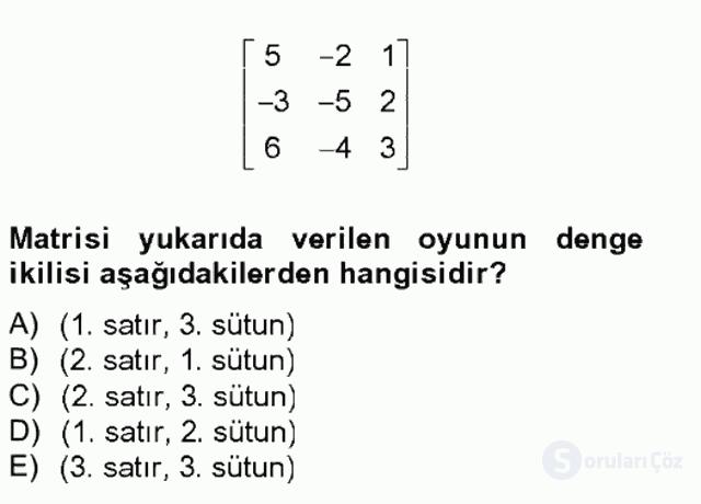 Matematik II Tek Ders Sınavı 18. Soru