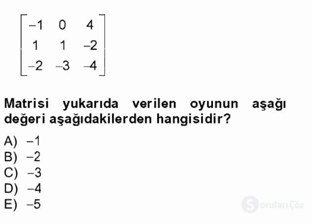 Matematik II Tek Ders Sınavı 19. Soru