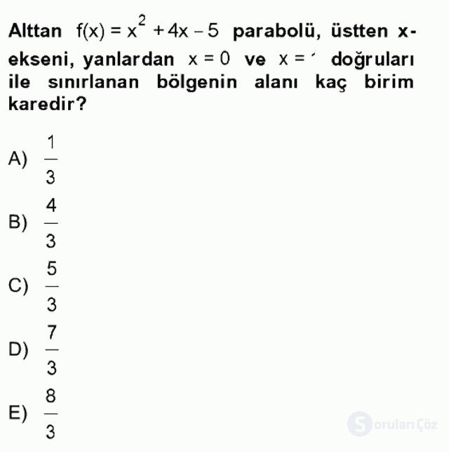Matematik II Tek Ders Sınavı 2. Soru