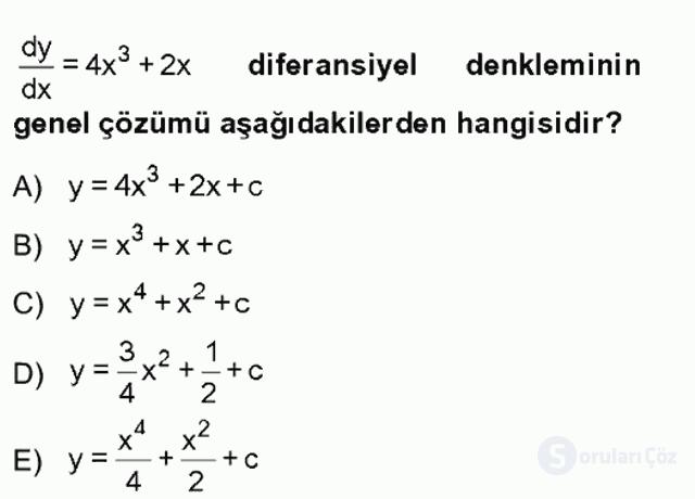 Matematik II Tek Ders Sınavı 3. Soru