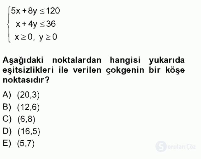 Matematik II Tek Ders Sınavı 4. Soru