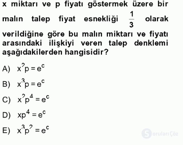 Matematik II Tek Ders Sınavı 6. Soru
