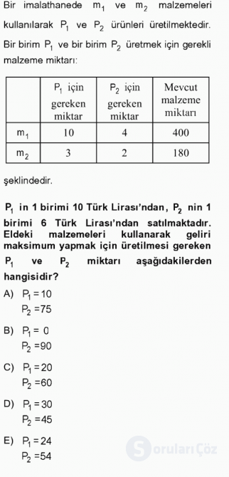 Matematik II Tek Ders Sınavı 7. Soru