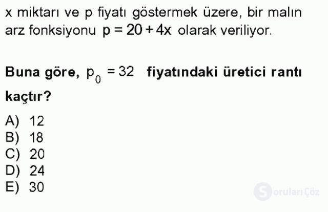 Matematik II Tek Ders Sınavı 8. Soru