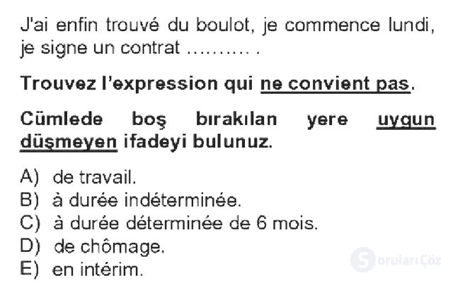Fransızca IV Bahar Dönemi Final 11. Soru