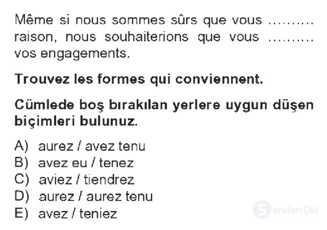 Fransızca IV Bahar Dönemi Final 12. Soru