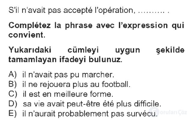 Fransızca IV Bahar Dönemi Final 13. Soru
