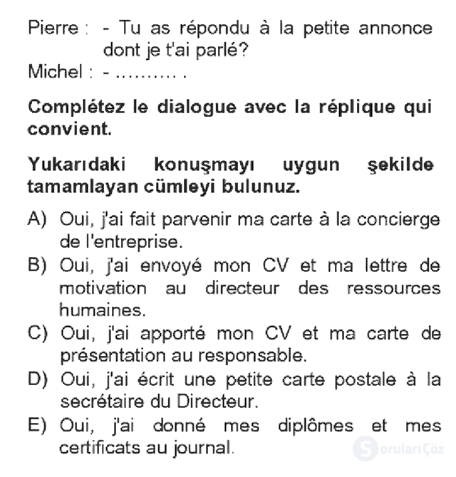 Fransızca IV Bahar Dönemi Final 2. Soru
