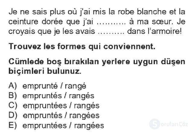 Fransızca IV Bahar Dönemi Final 4. Soru
