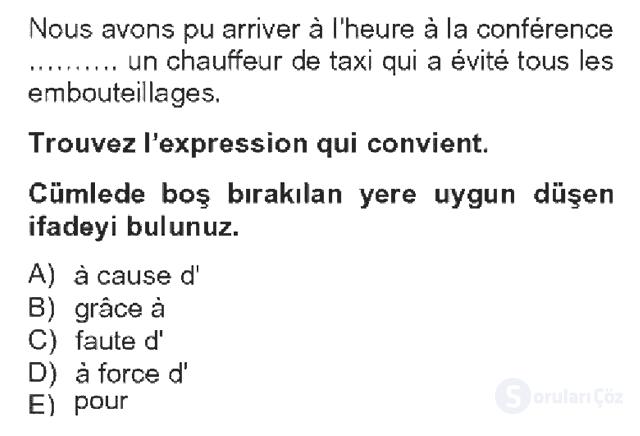 Fransızca IV Bahar Dönemi Final 9. Soru
