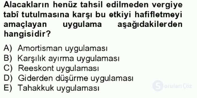 Türk Vergi Sistemi Tek Ders Sınavı 1. Soru