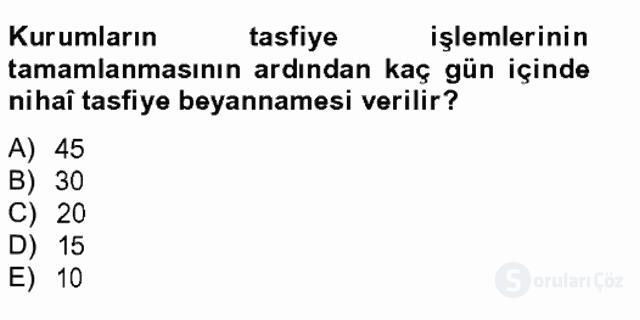 Türk Vergi Sistemi Tek Ders Sınavı 10. Soru