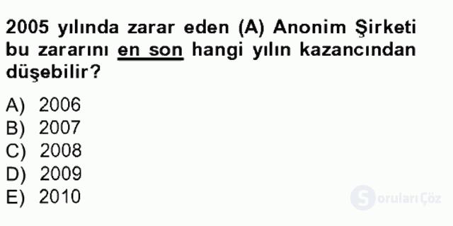 Türk Vergi Sistemi Tek Ders Sınavı 11. Soru