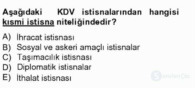 Türk Vergi Sistemi Tek Ders Sınavı 12. Soru