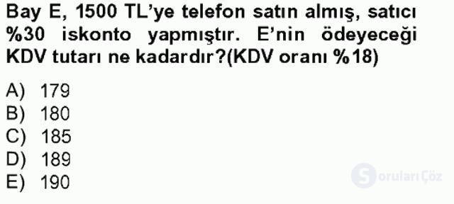Türk Vergi Sistemi Tek Ders Sınavı 13. Soru