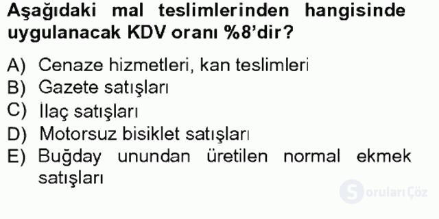 Türk Vergi Sistemi Tek Ders Sınavı 14. Soru