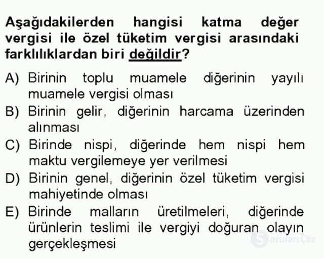 Türk Vergi Sistemi Tek Ders Sınavı 15. Soru