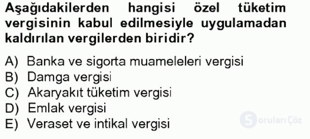 Türk Vergi Sistemi Tek Ders Sınavı 16. Soru