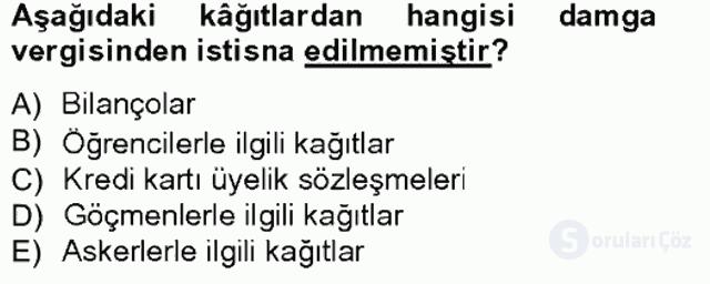 Türk Vergi Sistemi Tek Ders Sınavı 17. Soru