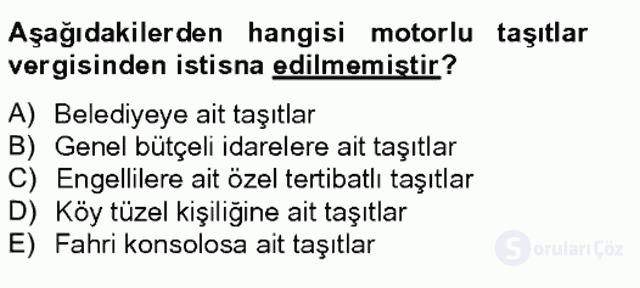 Türk Vergi Sistemi Tek Ders Sınavı 18. Soru