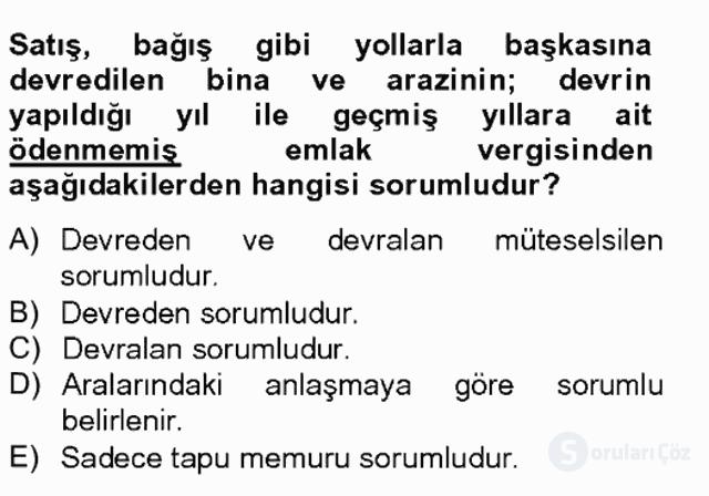 Türk Vergi Sistemi Tek Ders Sınavı 20. Soru