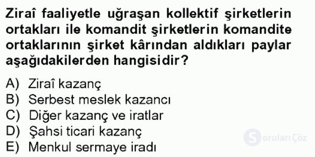 Türk Vergi Sistemi Tek Ders Sınavı 3. Soru