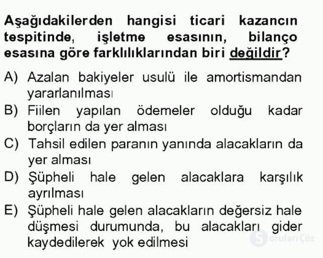 Türk Vergi Sistemi Tek Ders Sınavı 4. Soru