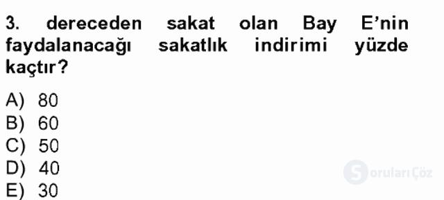 Türk Vergi Sistemi Tek Ders Sınavı 5. Soru